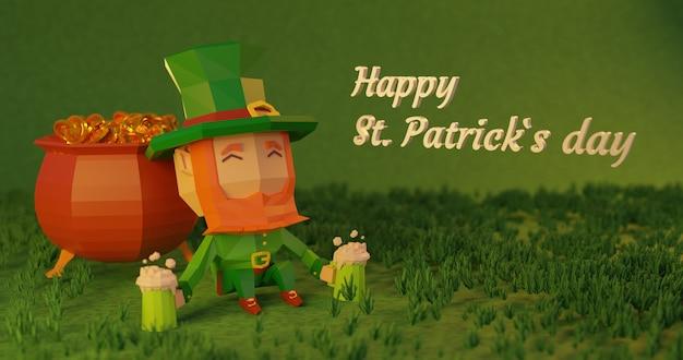 St. patrick's day 3d teruggegeven illustratie, laag poly stripfiguur rustend naast een ketel vol munten met bier in zijn handen Premium Foto