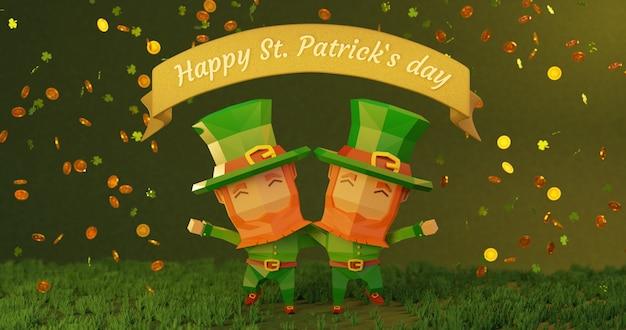 St. patrick's day in 4k. 3d teruggegeven illustratie, laag poly stripfiguren omhelzen elkaar, vallende munten met klaverbladteken Premium Foto