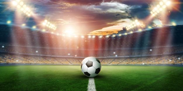 Stadion in de s en flitsen, voetbalveld Premium Foto