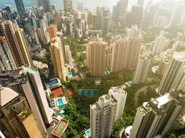 Stadsgezicht van hong kong stad Premium Foto