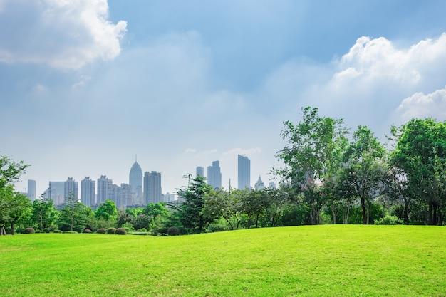 Stadspark onder de blauwe hemel met downtown skyline op de achtergrond Gratis Foto