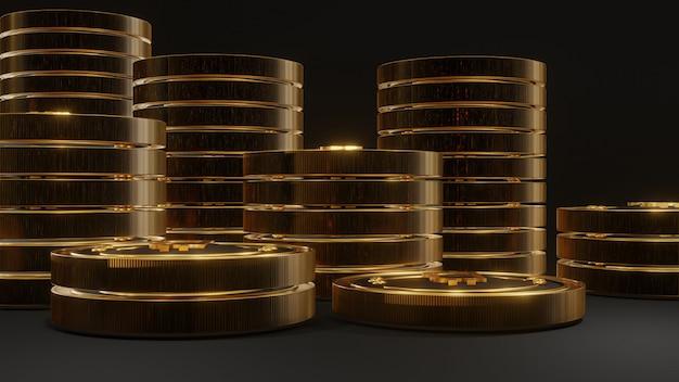 Stapel gloeiende gouden bitcoin op zwarte achtergrond Premium Foto
