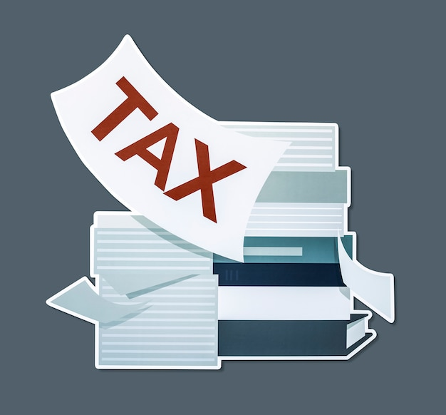 Stapel papieren en belasting concept illustratie Gratis Foto