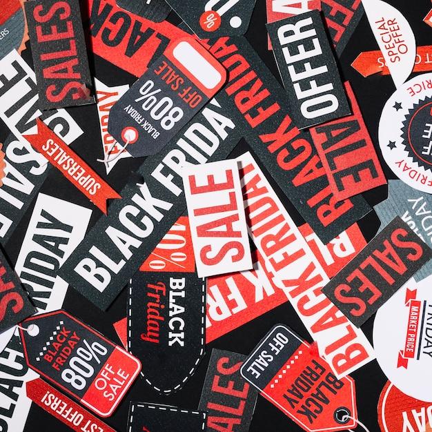 Stapel van kleurrijke black friday-etiketten Gratis Foto