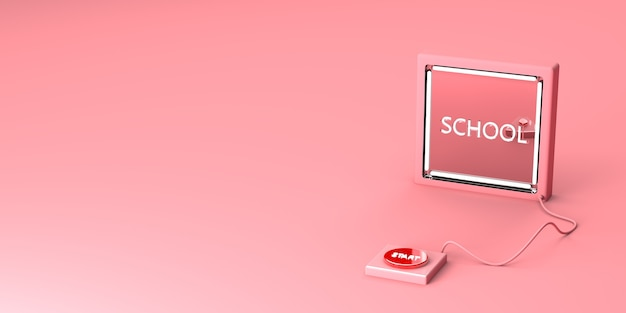 Start schoolknop op een roze achtergrond Premium Foto