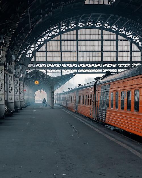 Station en radtrein in de winter Premium Foto