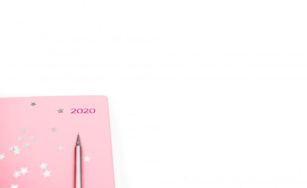 Stationair concept, plat bovenaanzicht foto van potlood en notitieblok op witte achtergrond met kopie ruimte, minimale stijl. Premium Foto