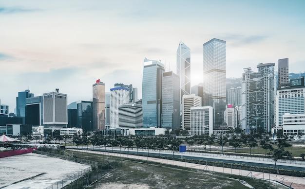 Stedelijk architecturaal landschap in hong kong Premium Foto