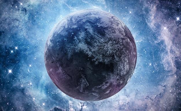 Ster en planeet in heldere diepe ruimte. nebula fantasie behang. kern van de melkweg. elementen van deze afbeelding geleverd door nasa Premium Foto