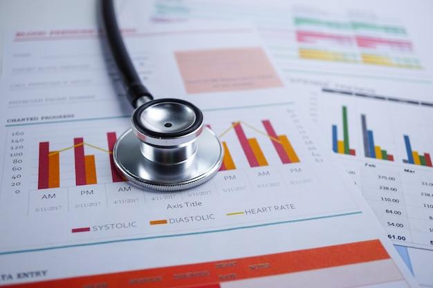 Stethoscoop, grafiekgrafiek, financiën, account, statistiek, analytische economie zakelijk Premium Foto