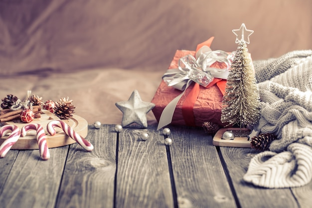 Stilleven kerst feestelijke achtergrond thuis Gratis Foto