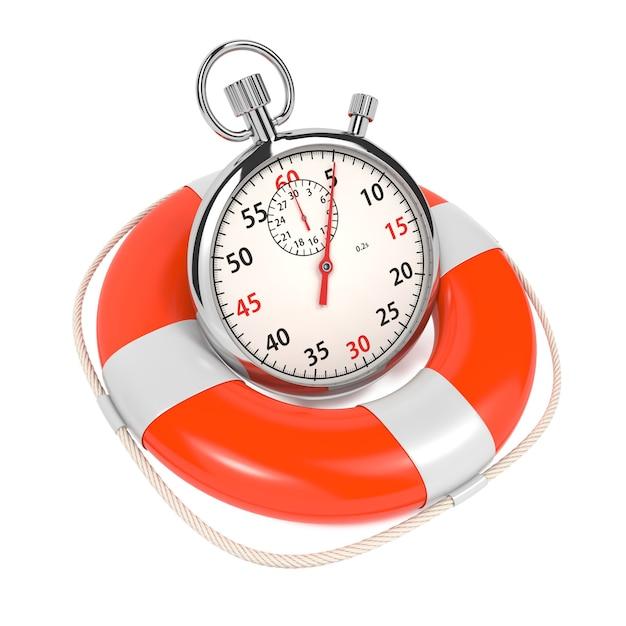 Stopwatch in reddingsboei op witte achtergrond. bewaar het tijdconcept. Premium Foto