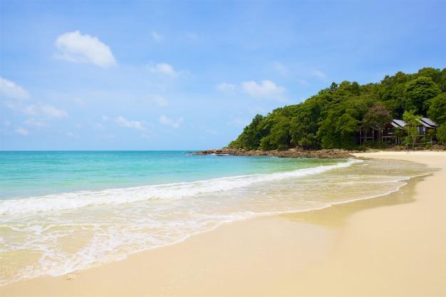 Strand en tropische zee onder de heldere blauwe hemel Premium Foto