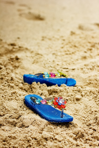 Strandwipschakelaars op tropische zandige kust Premium Foto