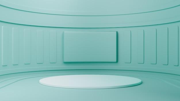Studio met geometrische vormen, podium op de vloer. 3d-rendering Premium Foto