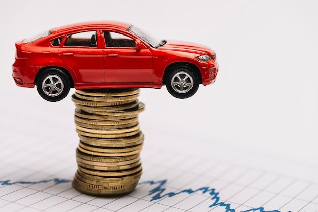 Stuk speelgoed rode auto op de stapel gouden muntstukken over de effectenbeursgrafiek Gratis Foto