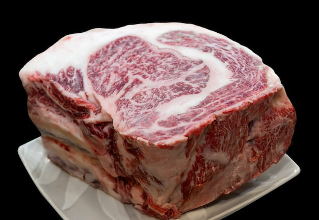 Stukje rauw wagyu japans rundvlees. Premium Foto