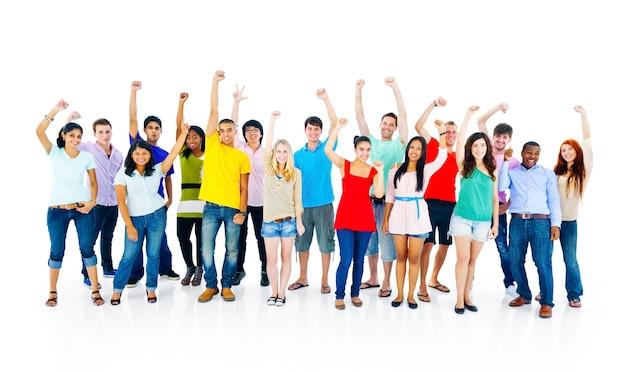 Succes mensen jeugdcultuur samen studenten vrolijk concept Premium Foto