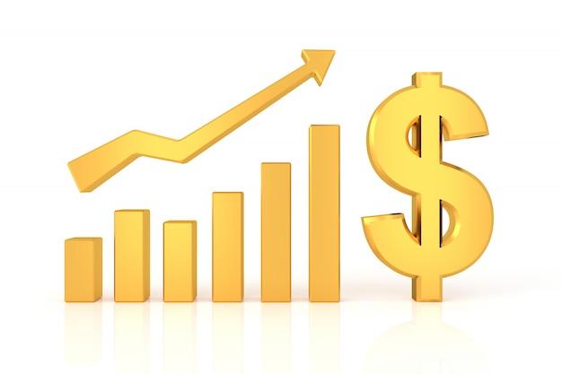 Succesvolle grafiek met dollarteken. 3d-rendering. Premium Foto