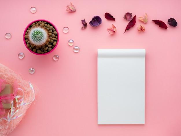 Succulente bloem, blocnote, droge bladeren en giftdoos op heldere speld Premium Foto