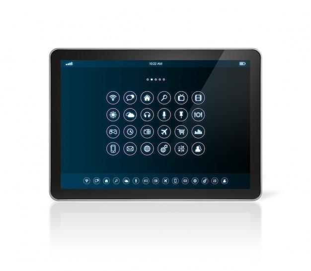 Tablet pc met apps pictogrammen interface Premium Foto