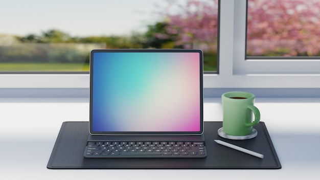 Tabletcomputer met toetsenbordgeval, potlood en groene koffiekop op zwart leerblad aan lijst en venstersachtergrond. 3d-rendering afbeelding. Premium Foto