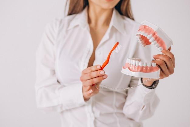 Tandarts met geïsoleerde tandheelkundethulpmiddelen Gratis Foto