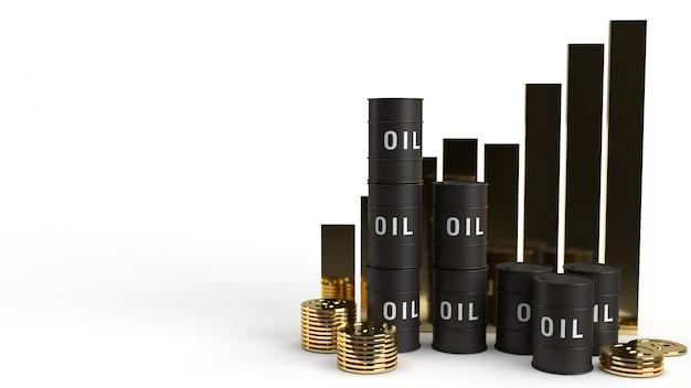 Tankolie en grafiek 3d-rendering voor benzine-inhoud. Premium Foto