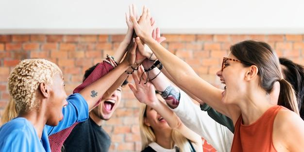 Teamwork power succesvol meeting workplace concept Premium Foto