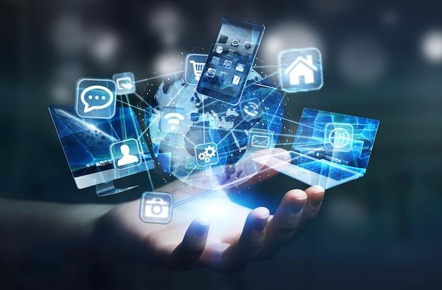 Tech-apparaten en pictogrammen die zijn aangesloten op digitale aarde Premium Foto
