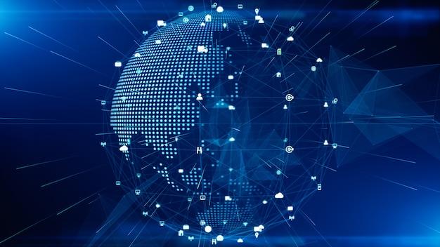 Technologie netwerkgegevensverbinding, digitaal netwerk en cyber security concept. aarde-element ingericht door nasa. Premium Foto