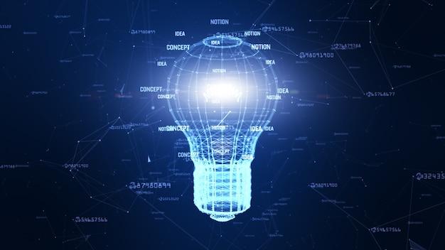 Technologienetwerk met lamp digitaal blauw creatief idee als achtergrond voor netwerk in wereld digitaal concept Premium Foto