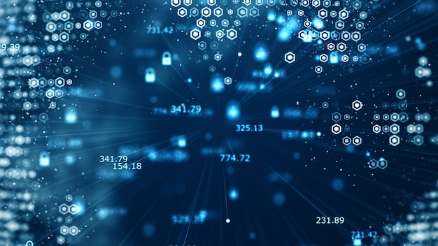 Technologische gegevens binaire code netwerk transport connectiviteit Premium Foto