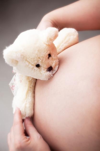 Teddybeer knuffels zwangere buik Premium Foto