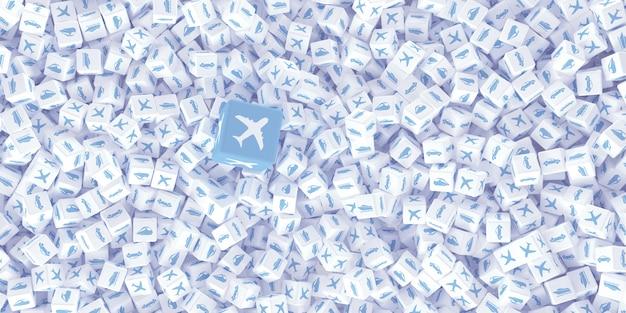 Tekening van veel verspreide kubussen Premium Foto