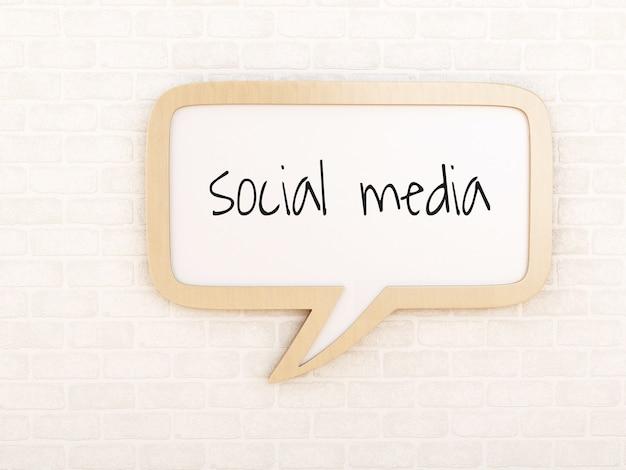 Tekstballon met sociale media Premium Foto