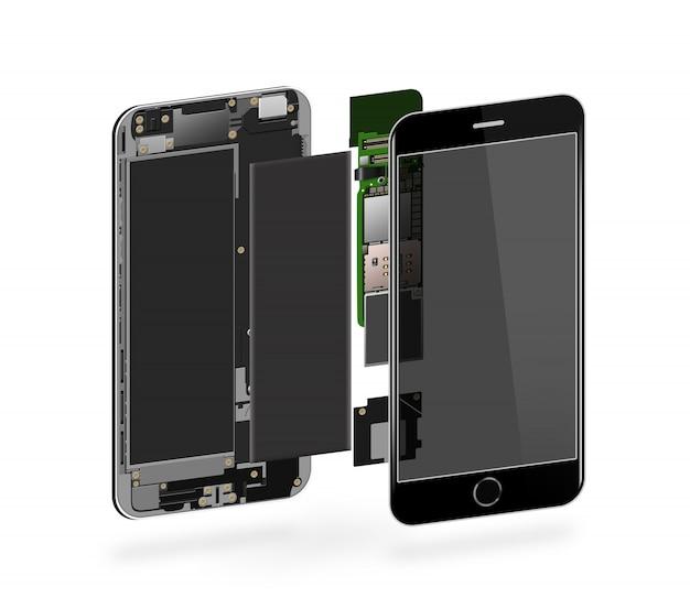 Telefoon binnen geïsoleerd, chip, moederbord, processor, cpu en details Premium Foto