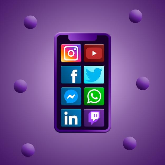 Telefoon met social media iconen Premium Foto