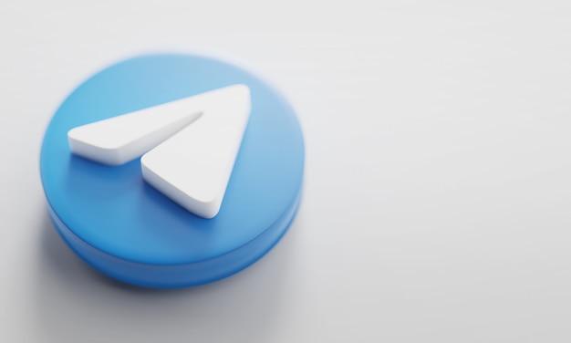 Telegram 3d-rendering close-up. Premium Foto