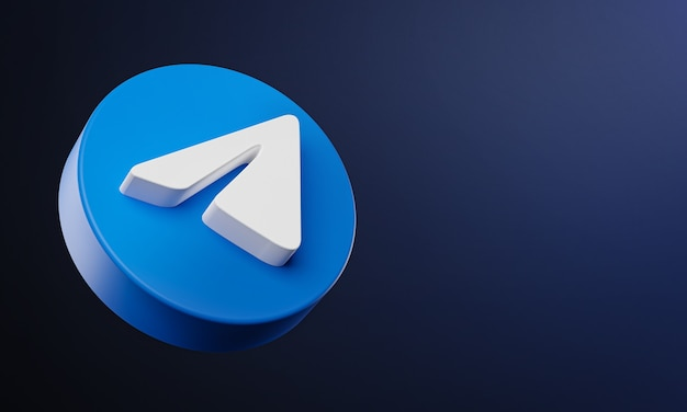 Telegram circle button icon 3d met kopie ruimte Premium Foto