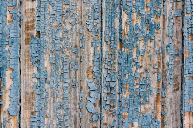Textuur van oud hout met versleten blauwe verf, wijnoogst, achtergrond Premium Foto