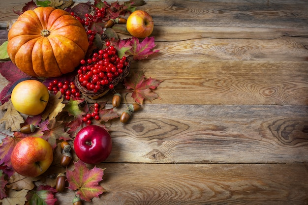 Thanksgiving groet achtergrond met pompoenen, appels en herfstbladeren Premium Foto
