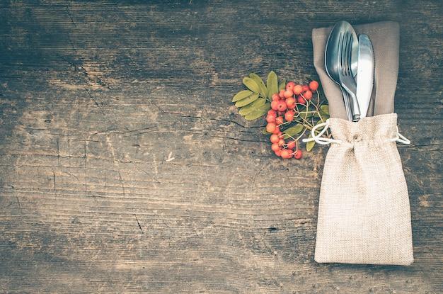 Thanksgiving herfst couvert met bestek Premium Foto
