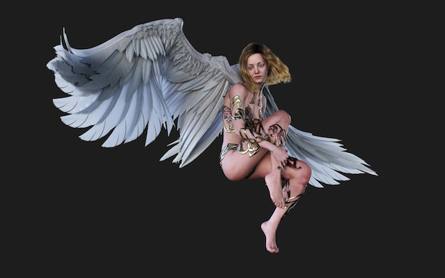 The heaven angel wings, white wing plumage isolated op zwarte achtergrond met uitknippad. Premium Foto