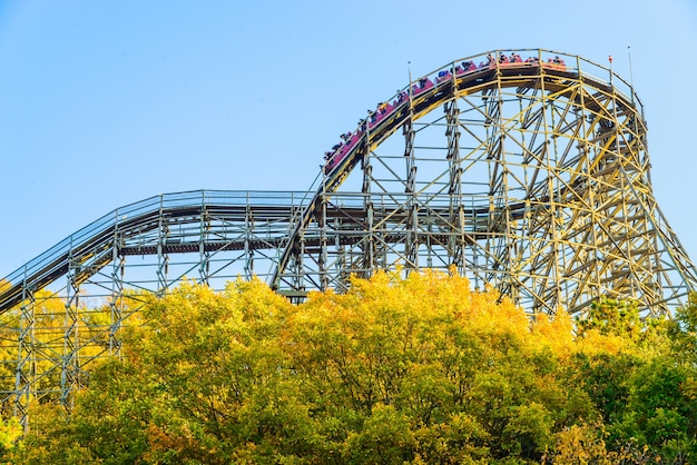 Thema blauw carnaval coaster amusement Gratis Foto