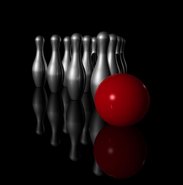 Tien metalen bowling kegelen en rode bal op zwart - 3d illustratie Premium Foto