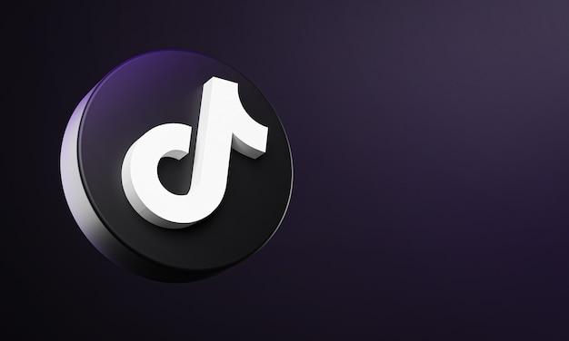 Tiktok circle button icon 3d met kopie ruimte Premium Foto