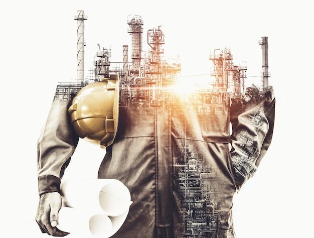 Toekomstig fabrieksfabriek en energie-industrieconcept. Premium Foto
