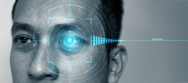 Toekomstige beveiligingsgegevens door oogscannen met biometrie. Premium Foto