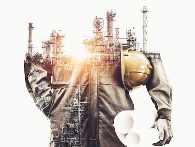 Toekomstige fabrieksinstallatie en energie-industrie concept. Premium Foto
